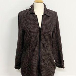 Flax Tops - Flax | Gray Full-Zip Cardigan Long Sleeve Blouse